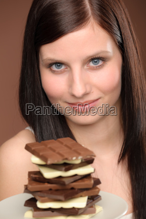 chocolate portrait young woman desire