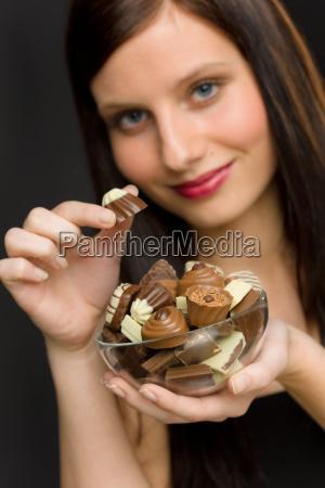 chocolate portrait young woman enjoy