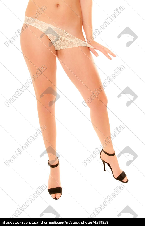 Beine einer jungen Frau in Slip und Stöckelschuhen - Lizenzfreies ...