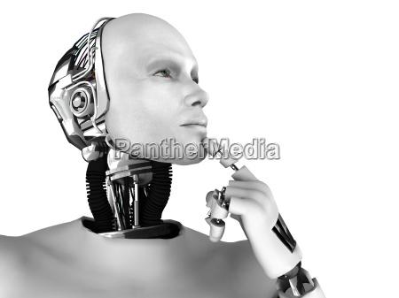 maennlich roboter denken ueber etwas