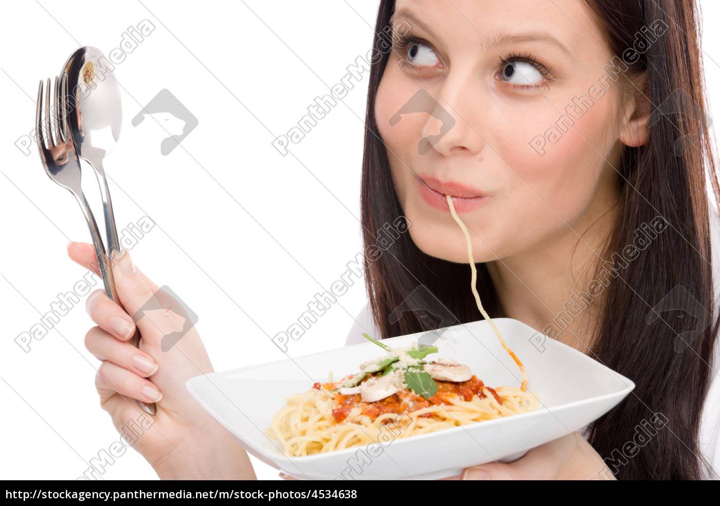 italienisches, essen, -, porträt, frau, essen - 4534638