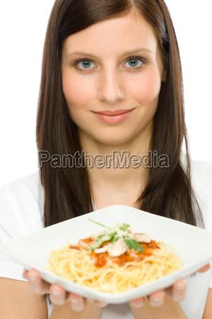 italian food portrait woman spaghetti