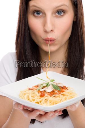 italian food portrait woman eat