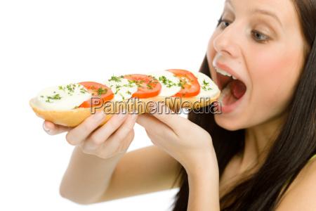 healthy lifestyle woman eat caprese