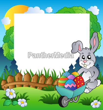 easter frame with bunny and barrow