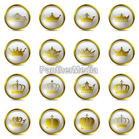 krone und tiara icons set