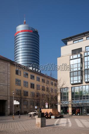 holzmarkt in jena with the jentower