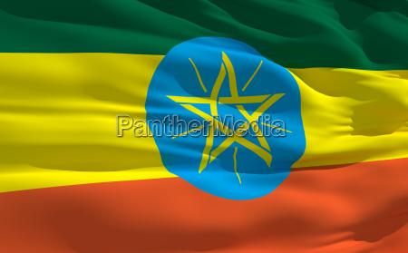 wehende flagge von aethiopien