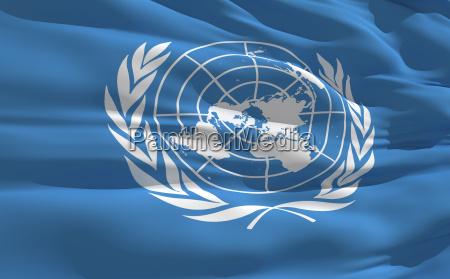wehender flagge der vereinten nationen
