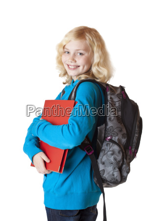 girl with school bag and folder