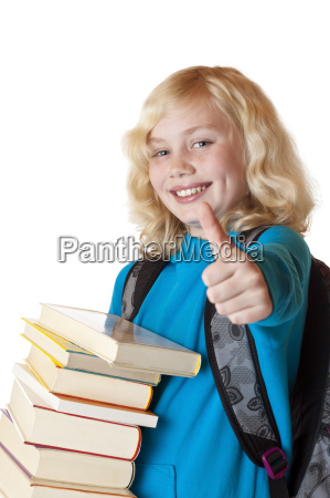 blonde pretty young girl with books