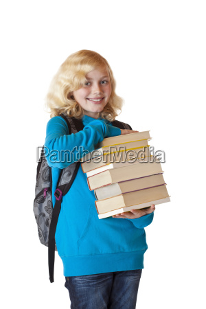 pretty schoolgirl with backpack books