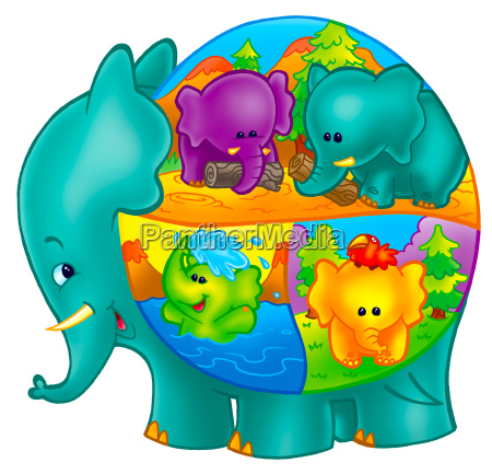 kunst tier elefant schriftzeichen charakter illustrationen