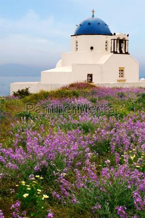 countryside chapel in santorini greece