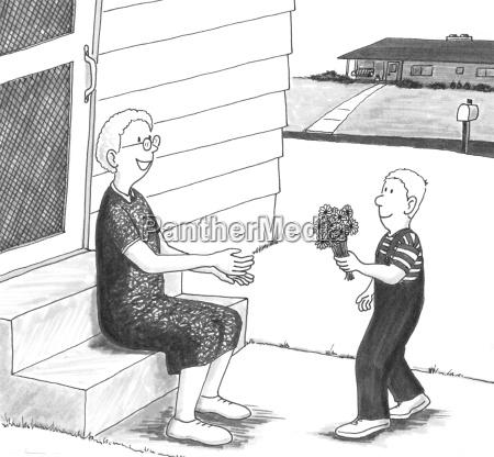 junge geben grossmutter blumen