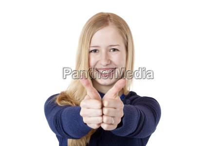 woman showing happy thumbs up
