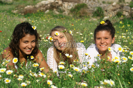 group of hippy teens or young