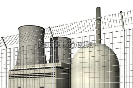 atomkraftwerk hinter einem sperrzaun vor weissem