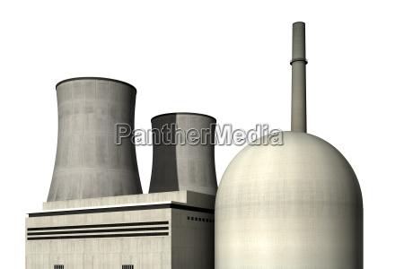 atomkraftwerk vor weissem hintergrund