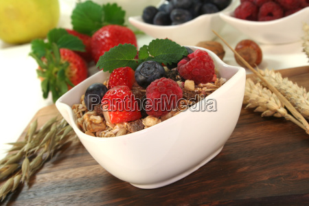 muesli with fresh fruit and nuts