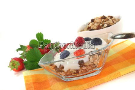 muesli with yoghurt fresh fruit and