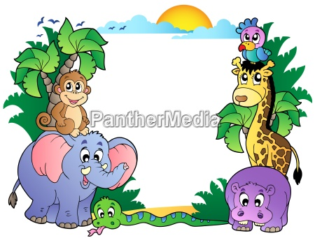 frame with cute african animals