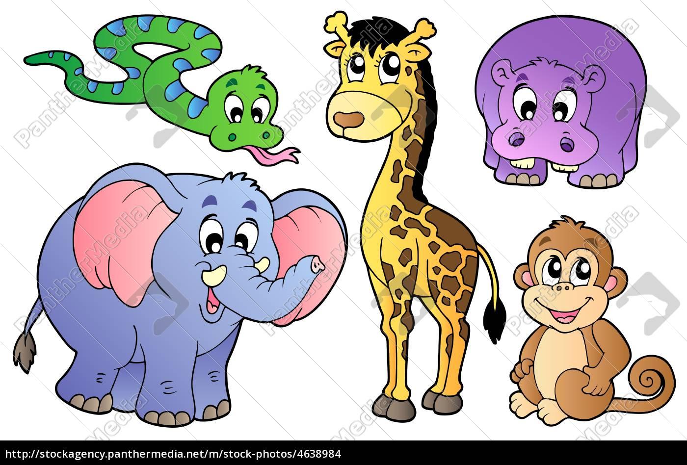 set, nette, afrikanische, tiere - 4638984