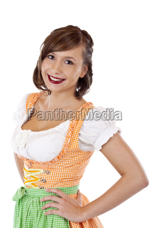 young handsome bavarian woman in dirndl