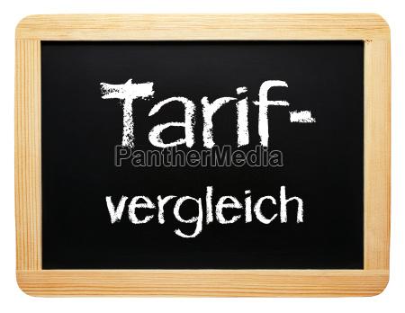 tariff comparison concept blackboard