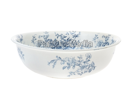 antique hand painted washbowl isolated on