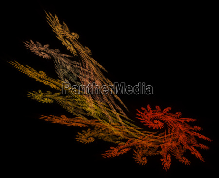 frond shaped fractal in fall colors
