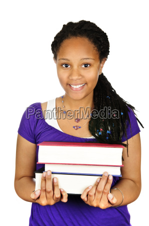 girl holding text books