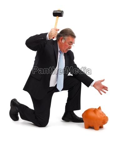 bank kreditinstitut geldinstitut geschaeftsmann ersparnisse schweinchen