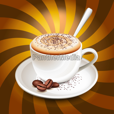 tasse cappuccino ueber strahlen