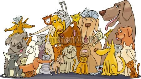 grosse gruppe von hunden und katzen
