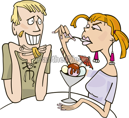 guy and woman eating dessert