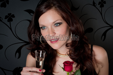 cocktail party woman champagne rose evening