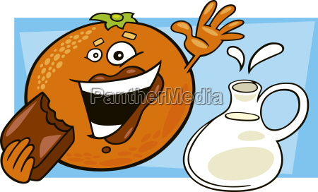 funny orange eating chocolate and pot