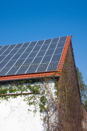 solar cells on an old barn