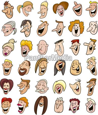 riesige menge von menschen lachen gesichter