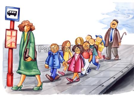 hoefliche kinder auf bushaltestelle