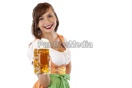 young pretty woman in dirndl holds