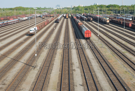 railroad yard with new automobiles