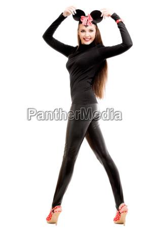 young woman wearing sexy mouse costume