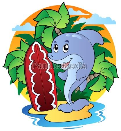 delfin mit surfbrett