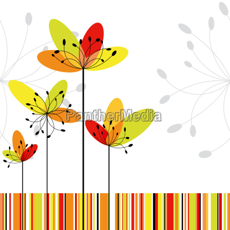 springtime abstract flower on colorful stripe