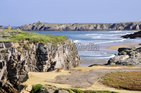 rocky coast at quiberon in france
