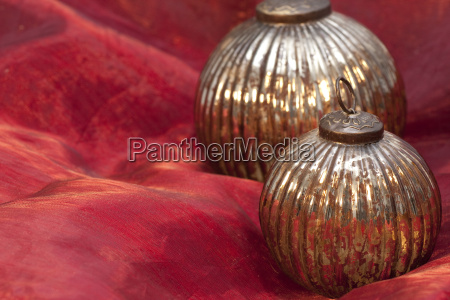 christmas ornament on red background