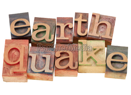 earthquake in letterpress type