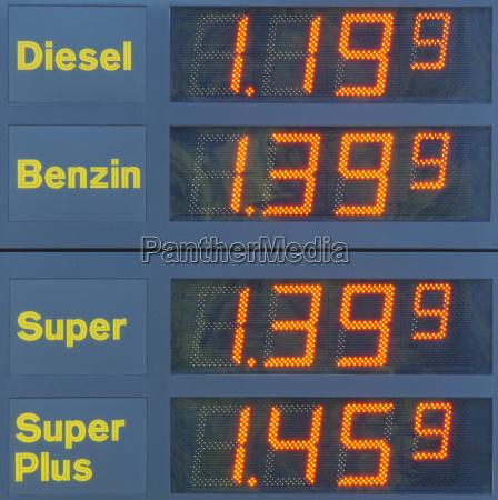 benzinpreise tankstelle at the gas